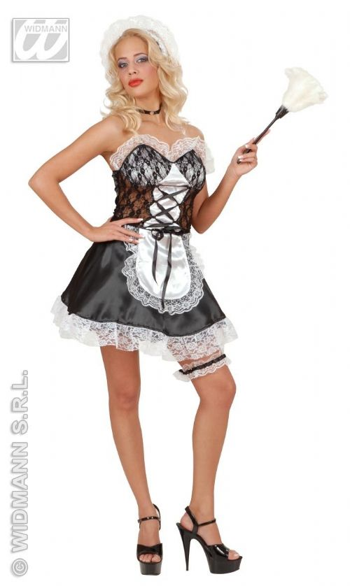 Ladies French Maid Satin/Lace Costume Fancy Dress